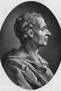 The framers based the Constitution's separation of powers and system of checks and balances on Montesquieu's ideas.