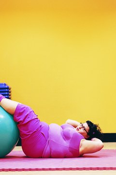 Exercise balls are used for core strengthening.
