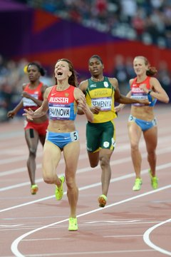 Mariya Savinova runs to Olympic glory in London.