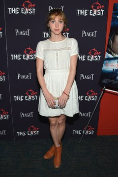 Actress Zoe Kazan wears a summer dress and cognac ankle boots in  2013.