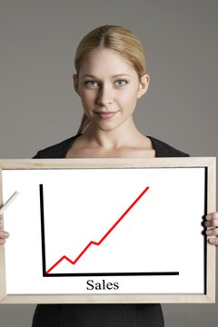 Portrait of businesswoman with sales graph against gray background