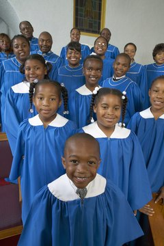 Portrait of a Choir of Gospel Singer Standing in a Church