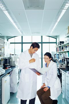 Research scientists looking at paperwork on clipboard in lab