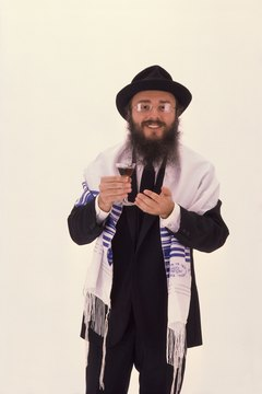 A rabbi wearing a prayer shawl.