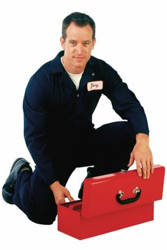 Worker with a toolbox