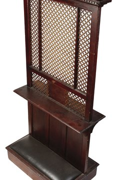 Confession traditionally took place in a confessional booth or behind a screen.