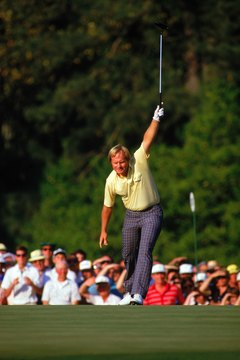One of the iconic moments in all of sports: The Golden Bear triumphantly raises his club in the air on 17 of the final round, as he watches a tricky 10-foot putt drop into the cup.