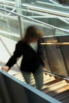 Taking the stairs instead of the elevator is a quick way to exercise.