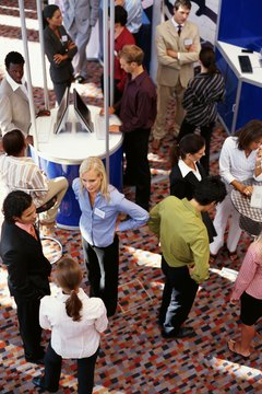 high angle view of a group of business executives at an exhibition