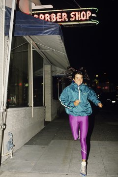 Jogging at night can be a stress reliever after a day at work.