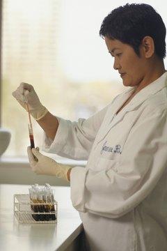 Technician working in blood bank