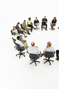 Group meeting forming semi-circle