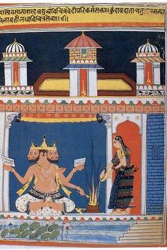 Brahma usually has a beard to signify age and wisdom.
