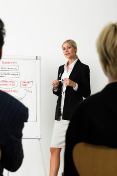 Businesswoman giving presentation standing by flipchart