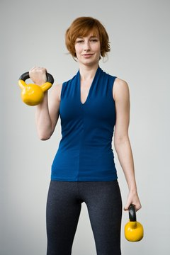 Get a full-body workout and burn 300 calories with kettlebells.