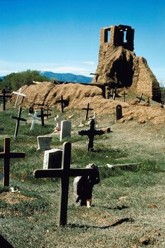 Old cemetery next to Navajo ruins in New Mexico.