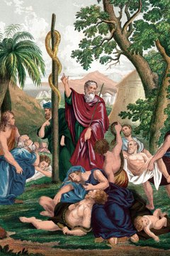 Moses raised a bronze snake on a pole to heal the Israelites.