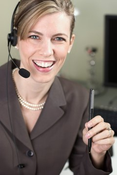 Businesswoman on a headset phone
