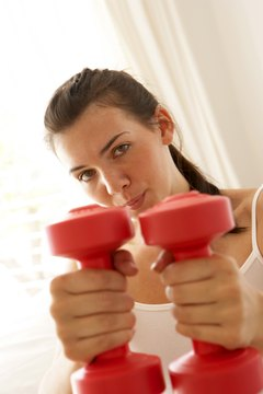 With dumbbells and creativity, you can develop the arm muscles in one exercise.