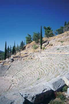 The theater at Delphi is part of the Temple of Apollo site.