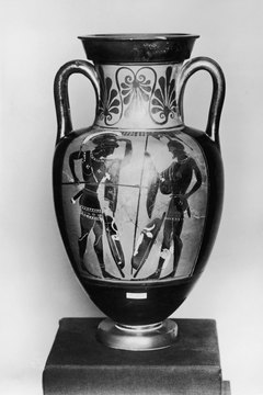 As depicted on a vase, Greek warriors battle with their thrusting spears.