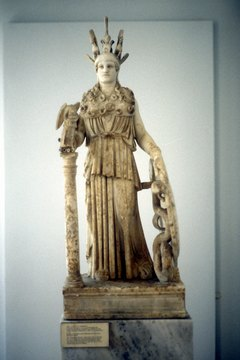 Statues of Athena often depict the goddess with her signature owl.
