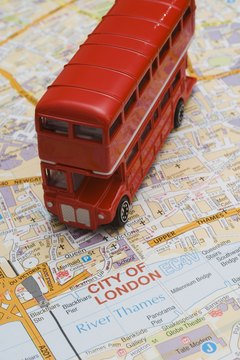 Toy double-decker bus and map of London