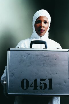 Portrait of a Police Forensic Scientist Holding a Confidential Briefcase