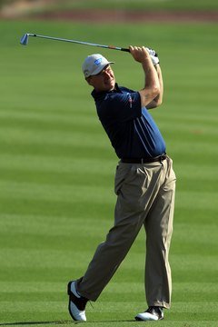 "PGA Tour player Ernie Els, ""The Big Easy,"" creates clubhead speed with a rhythmic swing."