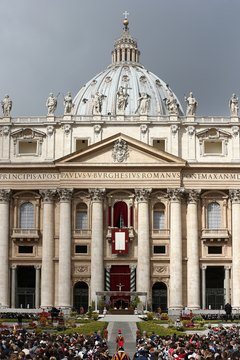 St. Peter's Basilica marks the seat of  the Vatican.