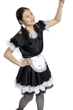woman dusting in French maid costume