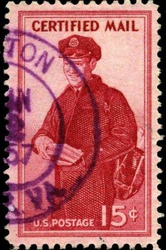United States 15-cent certified mail stamp from 1955.