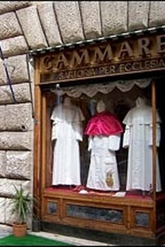 The storefront of Gammarelli in Rome, tailor to the pope.
