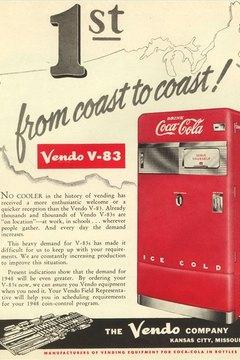 An advertisement for a pre-1956 Vendo 83 Coke machine