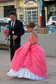 Quinceanera in a town square.