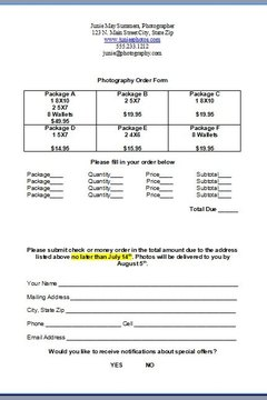 How To Create A Photography Order Form Ideas