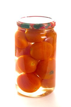 Food is often preserved and stored in jars for eating later.