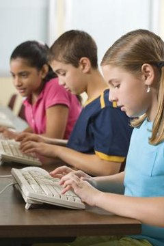 Children at computer stations