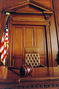Judge's gavel in courtroom