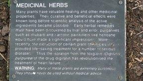 Placa de advertencias de las hierbas medicinales.