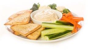 Hummus y vegetales.