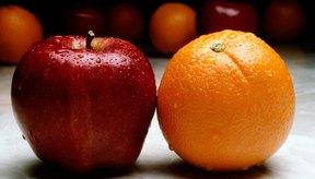 Una pequeña manzana y una pequeña naranja equivalen a una porción de fruta.