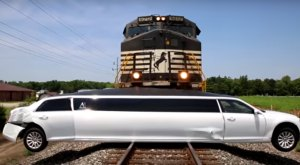 The Terrifying Moment A Limo Was Trapped On Train Tracks In Indiana
