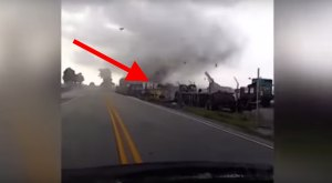 Scary! Watch What Happens When A Tornado Hits This Semi On A Florida Bridge