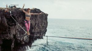 This Terrifying Slackline Footage Of Hawaii Will Make Your Palms Sweat