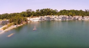 A Drone Captured Something Unbelievable While Flying Over A Flooded Quarry