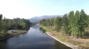 Take A Lovely Aerial Flyover Over This Beautiful River Island Near Missoula