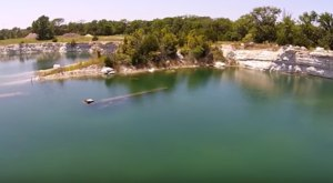 This Drone Photographer Took Flight Over An Abandoned Quarry In Texas And Found A Submerged Surprise
