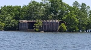 Ferguson, An Underwater Ghost Town In South Carolina, Peaks Above The Water In Lake Marion