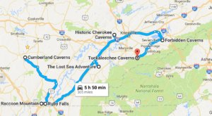 This Map Shows The Shortest Route To 7 Of Tennessee's Most Incredible Caves